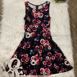 H&M Black Pink Sunflower Rose Floral Skater Dress